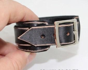 SB genuine leather wristband first class leather bracelet handmade leather cuff men's bracelet strap worn black