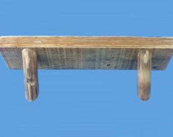 "reclaimed yellow pine wood shelf , 23-1/2"" long by 5-1/2"" by 2"" thick-recycled pine shelf-160"