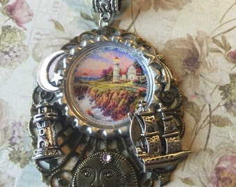 Steampunk Lighthouse Pendant Necklace ...Free Shipping