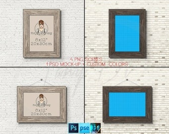 8x12 #W02 Wooden Portrait & Landscape Frame on Brick Wall, 4 Print Display Mockups, PNG PSD PSE, Opening 20x30cm, Custom colors
