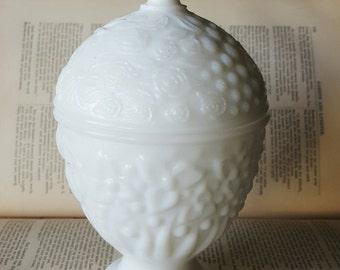 vintage avon milk glass compote.