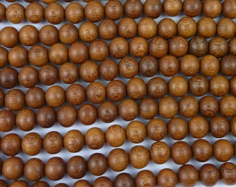 Natural Madre De Cacao Wood Round Beads Various Sizes 16'' Strand