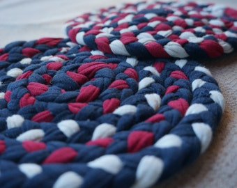 Braided Hot Pads made from Re-purposed T-Shirts