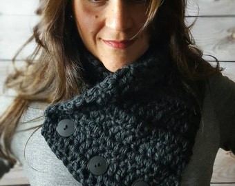 Black Button Cowl Scarf, Boston Harbor Scarf, Crochet Neck Warmer, Knit Scarf - Black with Coconut Buttons and Black Buttons