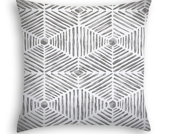Grey and white contemporary throw pillow.