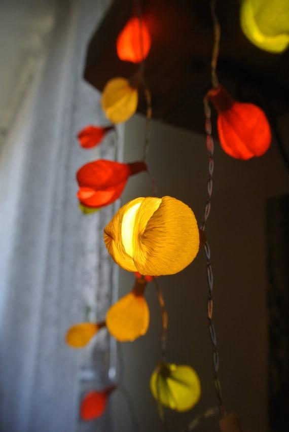 String lights and lighting 20 LED bulbs Flower garland