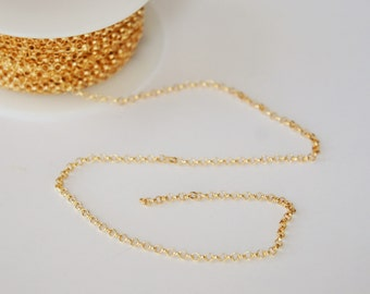 Gold Filled Rollo Chain, Jewelry Chain, By the Foot, Footage Chain, 2.3mm, Rolo Chain, Fast Shipping from USA