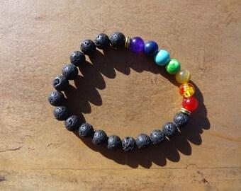 Bracelet 7 chakras with natural semi precious stones and volcanic lava stone - yoga bracelet - healing - elastic - pearls