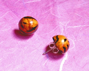 Ear studs, rounded, handmade polymer clay ear studs - Golden Tiger !
