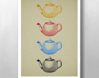 Canvas Print - Vintage Kitchen Print, Scandi Canvas Print, Teapot Print, Wall Decor Print, Kitchen Wall Print, Mid Century Modern, Wall Art