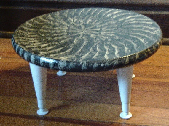 Wooden footstool vinegar painted in black and white with vintage legs