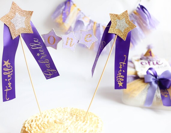 Twinkle Little Star Cake Topper - First Birthday - Personalized Cake Topper - Purple Gold Silver- One Cake Topper