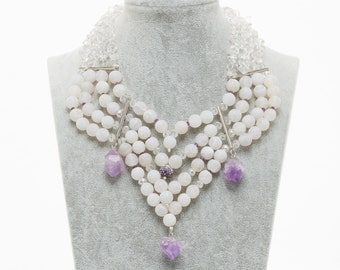 Necklace handmade with natural stones. White agate, amethyst, rock crystal.