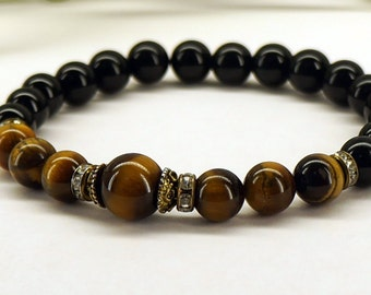 Unisex Tigers Eye Gemstone Bracelet, Onyx, Tiger Eye Jewelry, Gift for Him or Her, Yoga Bracelet, Mala Braclet, Healing Bracelet, Stretch