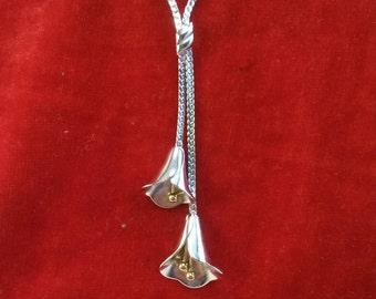 Vintage Avon calla lily lariat necklace