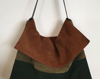 Leather bag with flap