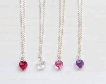 Swarovski heart necklace. Silver necklace with Swarovski heart. Swarovski crystal. Colored crystals.