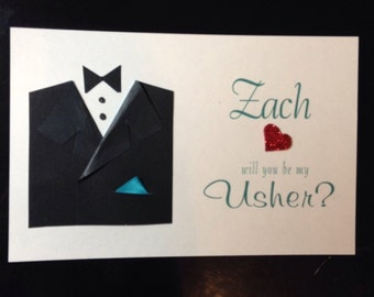 Groomsman or usher card with envelope will you be my groomsman?