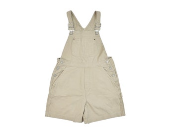 Khaki Shortalls, Small, Vintage 90s Overall Shorts, Taupe, Brown, 90s Shorts, Gap Overalls, Dungarees, Onesie, Beige Shorts Overalls