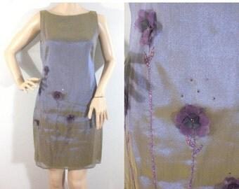 75% OFF Feb 12 - 14 1970s Sleeveless Flower Embellished Dress • Size Small  • Vintage 70s Fancy Iridescent Short Sheath Dress  [D]