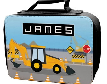 Personalised Construction Digger Lunch Bag 2 - school - kids - children -girls -boys