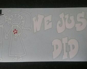 Newly Wed car sticker