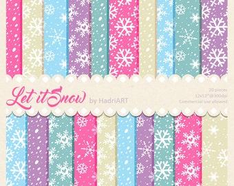 Snow Digital Paper // Snowflakes Digital Paper Pack