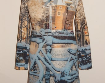 Snowy bike dress, print, snow, bike, bridge, Amsterdam canal, grey white brown, size EU 38 40 (USA 8 10 - UK 10 12, cotton, tricot