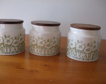 "Hornsea ""Fleur"" 3 x Tea, Coffee and Sugar canisters"