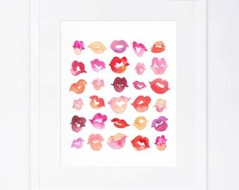 Kisses Watercolor Print
