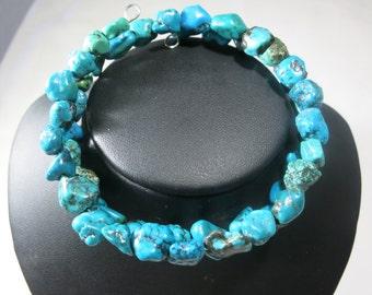 Turquoise chip bracelet, turquoise bracelet, genuine turquoise, memory wire bracelet