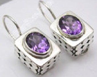 AMETHYEST -Stirling Silver Earrings
