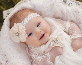 Baby Baptism Headband with cotton lace and perl boton in ivory