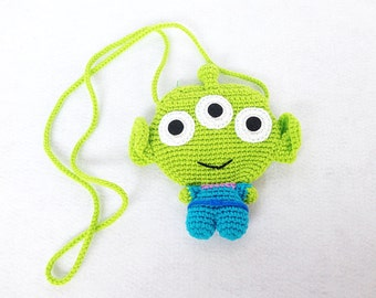 Alien Toy Story crocheted purse or bag ,Crochet minions, Handmade crochet bag, crochet purse