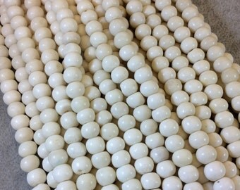 "8mm White/Ivory Colored Smooth Ox Bone Round/Rondelle Beads with 2mm Holes - 15.5"" Strand (Approx. 62 Beads) - Sold by the Strand"