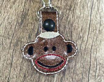 Sock Monkey Key Fob Key Chain Snap Tab