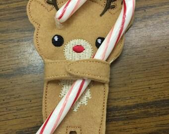 Reindeer Candy Cane Holder Candy Hugger Party Favor Stocking Stuffer