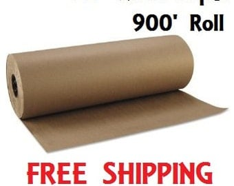 """24"""" 40 lbs 900' Brown Kraft Paper Roll Shipping Wrapping Cushioning Void Fill - BULK - FREE SHIPPING"""