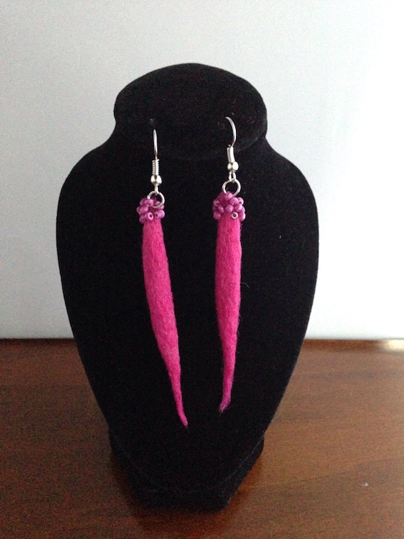 Pink beaded felted earrings , Red wool , Pink earrings , Unique wool earrings , gift for her - Statement jewellery - felt earrings - earring