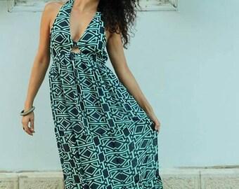 Sale 20% Off Bohemian maxi shiffon dress, open back dress/printed dress/long dress /blue/bohochic/summer dress/tribal hippie