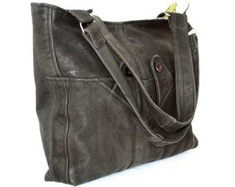 Handmade Large Leather Bag, Hobo Bag, Recycled Leather Bag, Leather Bag, Leather Tote, Leather Handbag, Reused Leather Bag, Unique Bag