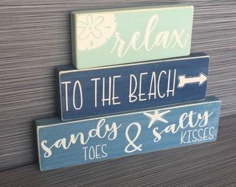 Beach Blocks, Set of 3 - Wood Blocks, Beach, Coastal Decor, Shelf Decor, Mantle Display, Home Decor, Beach Sayings, Beach Quotes