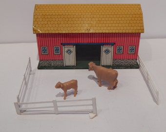 Vintage Ohio Art Toy Barn Tin Litho 1960s Sunnyfield Farms Barn