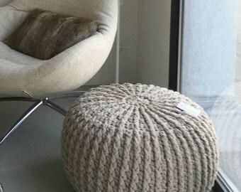 Crochet pouf crochet footstool round pouf knitted pouf