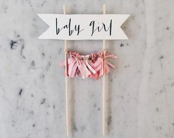 Cake Topper / Modern Calligraphy / Custom / Pink Baby Girl / Gender Reveal Cake / Made-To-Order/ Hand Made Mini Tassels / Party / Birthdays