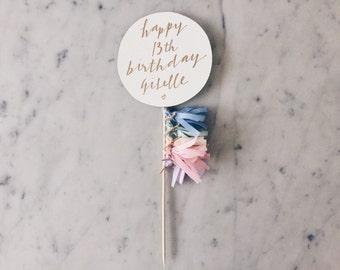 Cake Topper / Modern Calligraphy / Custom Hand Lettered/ Pastel Unicorn Rainbow / Made-To-Order/ Hand Made Mini Tassels / Happy Birthday