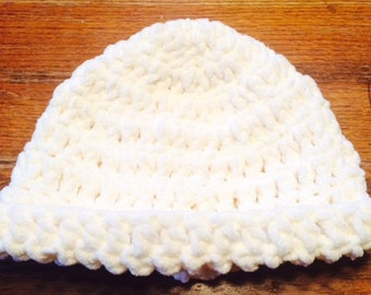 Crocheted Adult Hat, Cream, Thick, Cozy, Super Soft