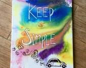 Keep it Simple wall inspirational quote tie dye volkswagen beetle flower art motivational wall art hippie decor inspirational wall art