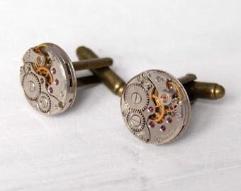 Steampunk Cuff links Clockwork cufflinks Authentic Watch Movement Gift for Men Geek Jewelry Bronze Cufflinks Vintage Accessories for Men