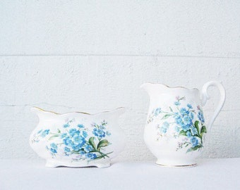"Royal Albert ""Forget Me Not"" Creamer & Sugar Bowl. Floral China Set. Gorgeous, Bright, Blue Flowers Bone China. C.1950s"